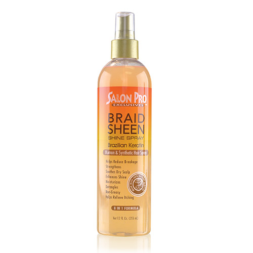 Salon Pro Braid Sheen Shine Spray Brazillian Keration Oil (12oz)