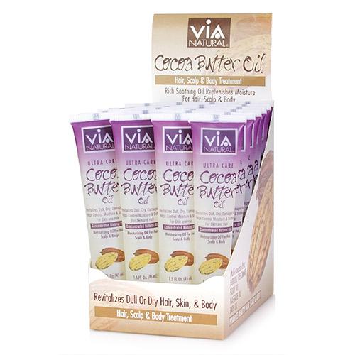 ViA Natural Oil for Hair, Scalp & Body Treatment (Cocoa Butter Oil) (1.5oz / 24pcs)